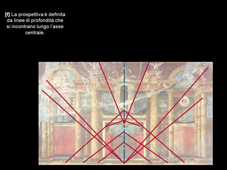 [f] La prospettiva è definita da linee di profondità che si incontrano lungo l'asse centrale.